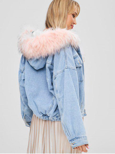 women Faux Fur Hooded Fleece Denim Jacket - DENIM BLUE ONE SIZE Mobile