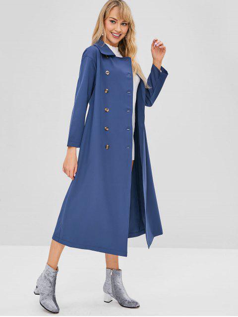 ZAFUL Manteau Long à Double Boutonnage - Bleu de Soie S Mobile