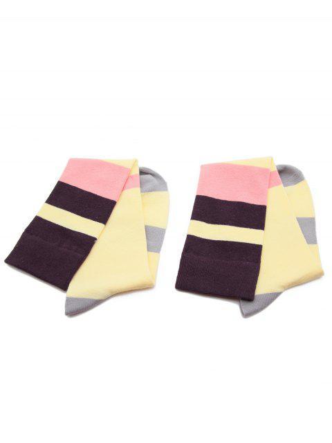 fashion Color Block Medium Socks - YELLOW  Mobile
