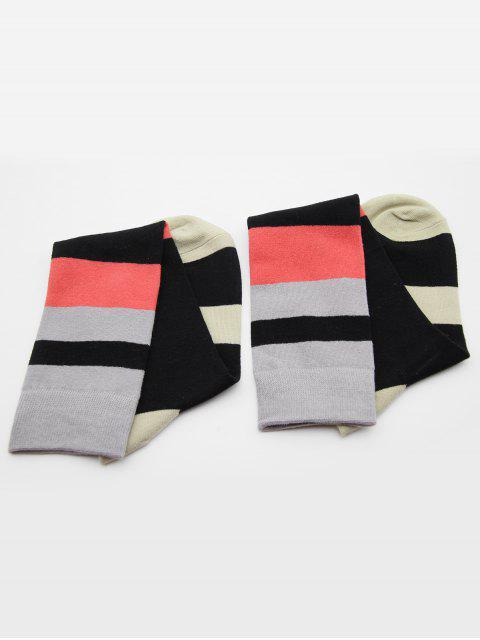 trendy Color Block Medium Socks - BLACK  Mobile