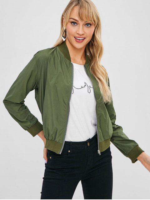 buy Ribbed Trim Bomber Jacket - GREEN ONE SIZE Mobile