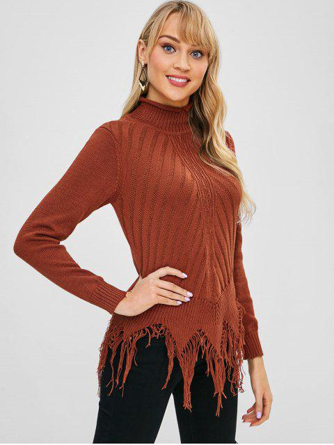 hot Fringed Mock Neck Sweater - CHESTNUT ONE SIZE Mobile