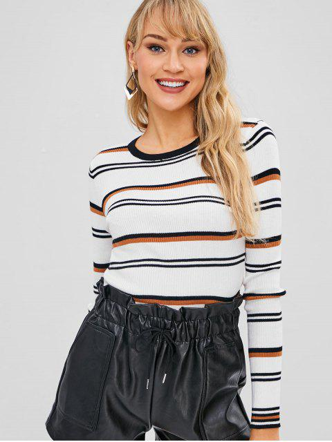 chic Casual Fitted Striped Sweater - WHITE ONE SIZE Mobile