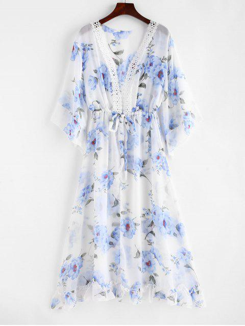 hot Floral Drawstring Laced Chiffon Cover-up - WHITE ONE SIZE Mobile