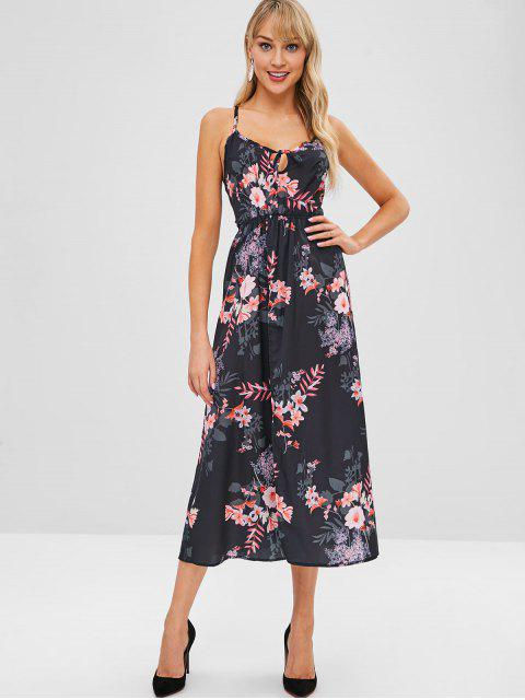 outfit Floral Print Split Hem Strappy Dress - BLACK L Mobile