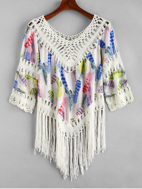 shop Feather Print Crochet Panel Fringed Top - MULTI-A ONE SIZE Mobile