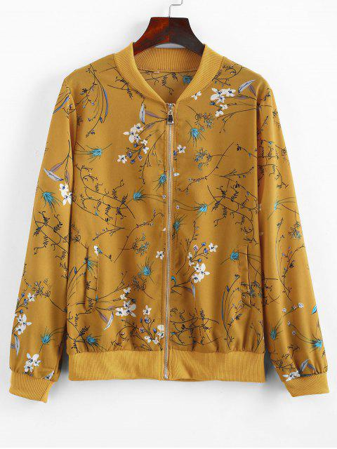 outfits Zip Up Floral Print Jacket - BEE YELLOW XL Mobile