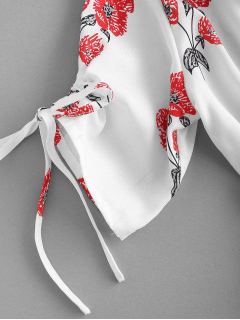 ZAFUL Mini Robe Enveloppée Florale Imprimée - Blanc M Mobile