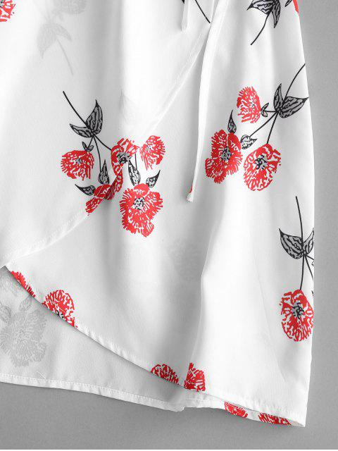 best ZAFUL Floral Print Mini Wrap Tea Dress - WHITE S Mobile