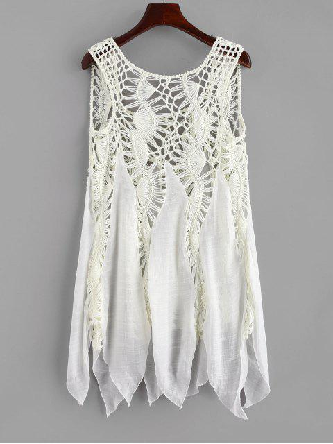 chic Crochet Panel Cover-up Dress - WARM WHITE ONE SIZE Mobile