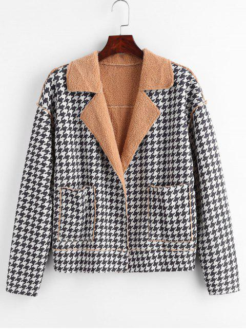 trendy Open Front Houndstooth Sheepskin Jacket - MULTI M Mobile