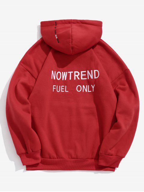 hot Letter Drawstring Fleece Hoodie - RED 2XL Mobile
