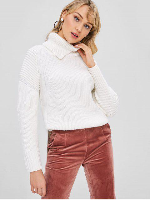 online Turtleneck High Low Jumper Sweater - WHITE S Mobile