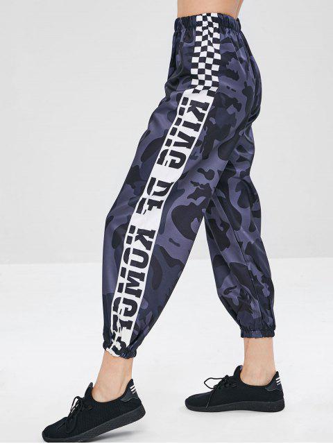 fashion Camo Plaid Print Jogger Pants - NAVY CAMOUFLAGE M Mobile