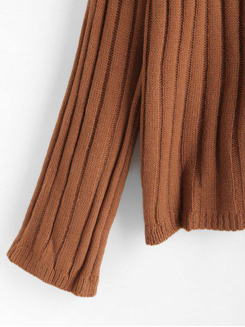 lady Drop Shoulder Knitted High Neck Sweater - BROWN ONE SIZE Mobile