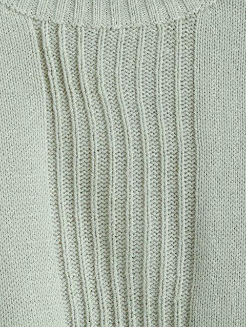 unique Drop Shoulder Slit Tunic Sweater - DARK SEA GREEN ONE SIZE Mobile