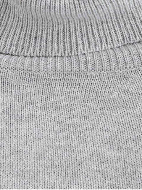 unique Knit Turtleneck Drop Shoulder Sweater - LIGHT GRAY ONE SIZE Mobile