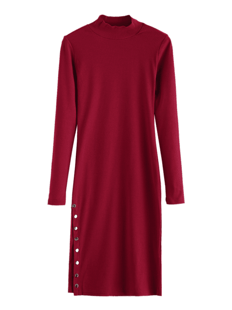 women Slit Button Embellished Bodycon Dress - RED WINE ONE SIZE Mobile