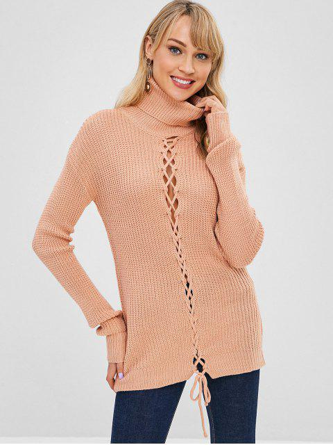 fancy Turtleneck Lace Up Drop Shoulder Sweater - BLANCHED ALMOND ONE SIZE Mobile