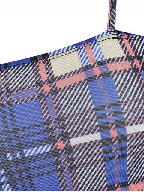womens Snap Button Cami Plaid Bodysuit - BLUEBERRY BLUE M Mobile
