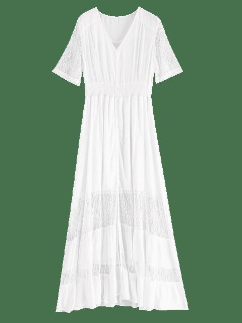 lady Lace Trim Button Through Maxi Dress - WHITE S Mobile