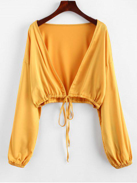 fancy ZAFUL Tie Front Cropped Blouse - GOLDEN BROWN ONE SIZE Mobile