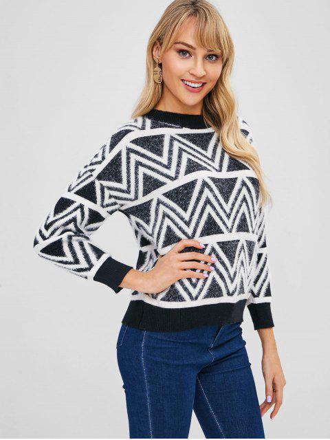 hot Geo Jacquard Knit Fuzzy Sweater - MULTI ONE SIZE Mobile
