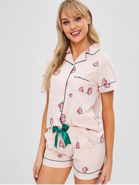 Ensemble de Pyjama Boutonné Fraise à Manches Courtes - Rose Léger  2XL Mobile