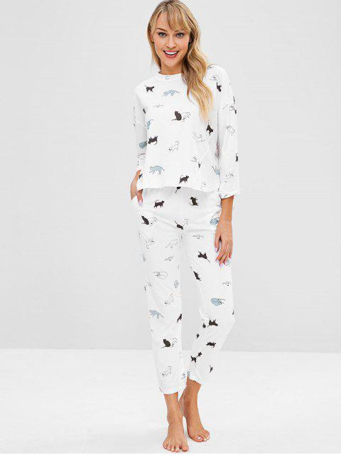 Ensemble de Pyjama Haut Bas Chat Imprimé - Blanc 2XL Mobile