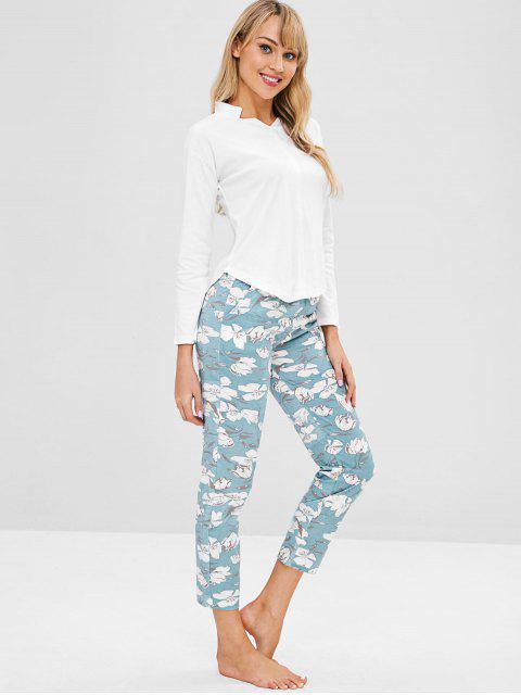 fancy Flower Long Sleeve Pajama Set - CYAN OPAQUE 2XL Mobile