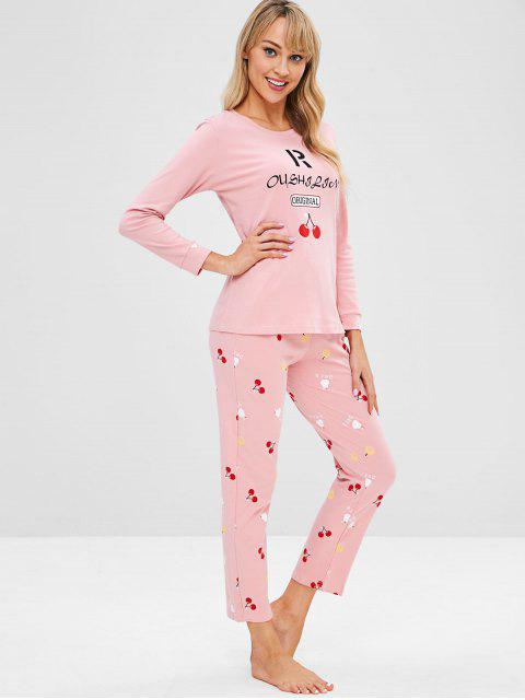 buy Cherry Letter Long Sleeve Pajama Set - LIGHT PINK 2XL Mobile