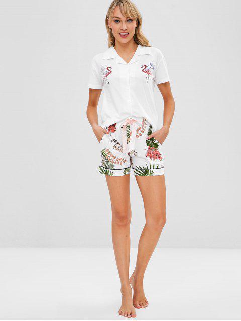 women's Tropical Flamingo Short Sleeve Pajama Set - WHITE XL Mobile