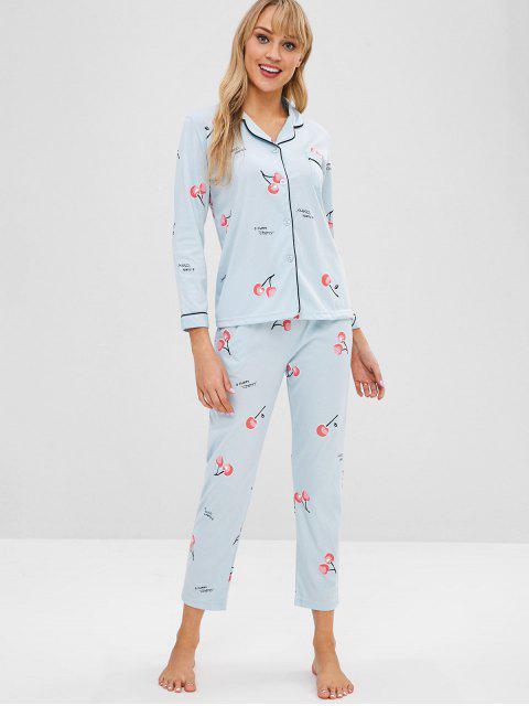 new Pocket Cherry Button Up Pajama Set - JEANS BLUE 2XL Mobile