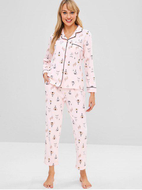 Ensemble de Pyjama Cactus Boutonné avec Poche - Rose Léger  2XL Mobile