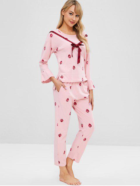 ladies Strawberry Flare Sleeve High Low Pajama Set - LIGHT PINK XL Mobile