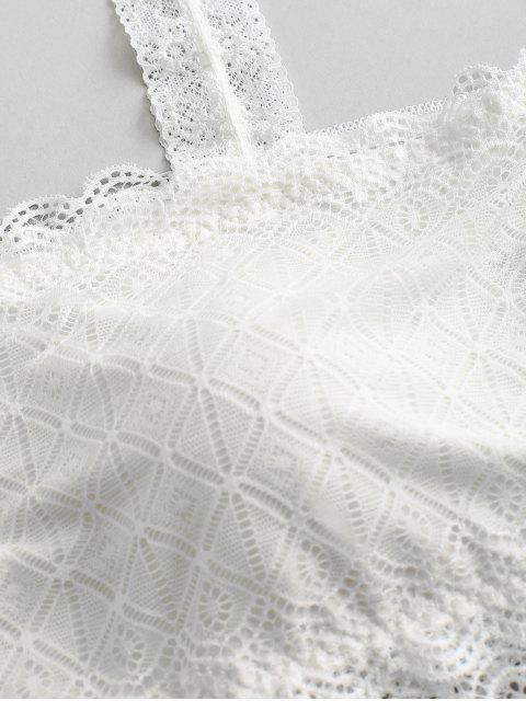 fashion Plus Size Lace Crop Tank Top - WHITE ONE SIZE Mobile
