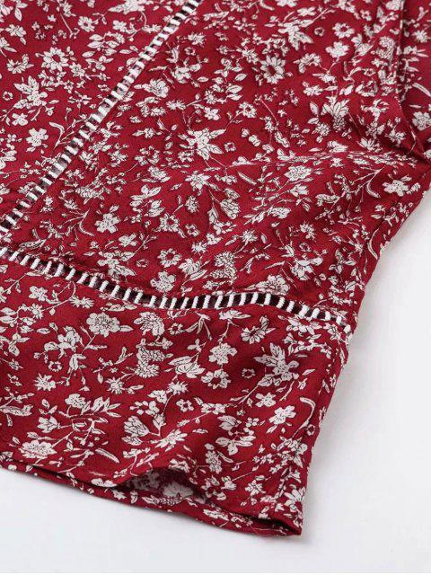 women's Printed Flare Sleeve Tie Front Top Set - CHERRY RED L Mobile