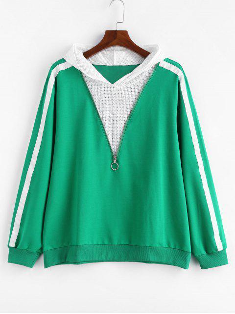 ladies Plus Size Side Striped Zipper Hoodie - GREEN 4X Mobile