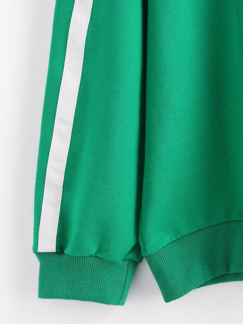 new Plus Size Side Striped Zipper Hoodie - GREEN 3X Mobile