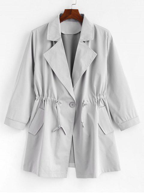 trendy Plus Size One Button Plain Trench Coat - GRAY 3X Mobile