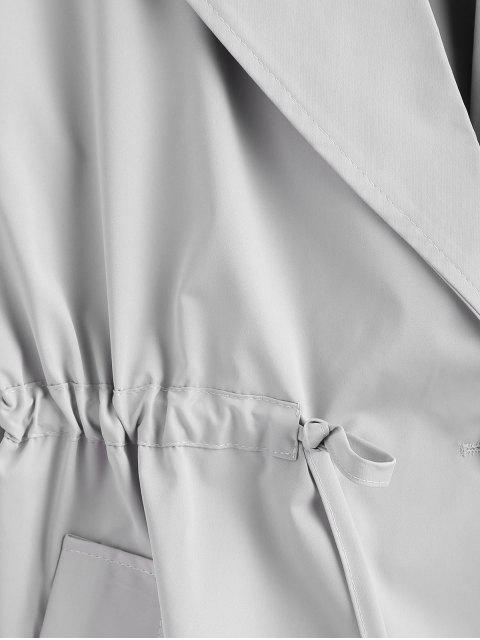 fashion Plus Size One Button Plain Trench Coat - GRAY 4X Mobile