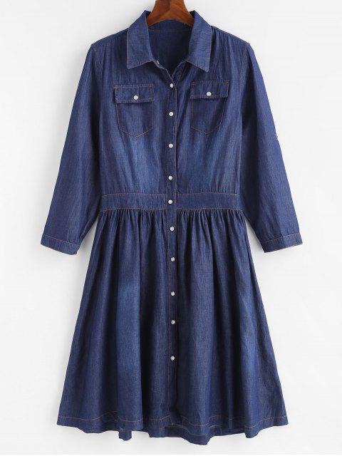 fancy Plus Size Snap Button Chambray Flare Dress - DENIM DARK BLUE 3X Mobile