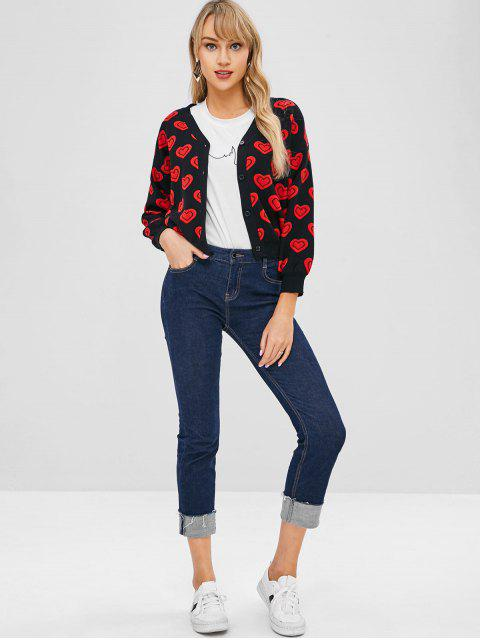 affordable Heart Jacquard Knit Button Up Cardigan - BLACK ONE SIZE Mobile