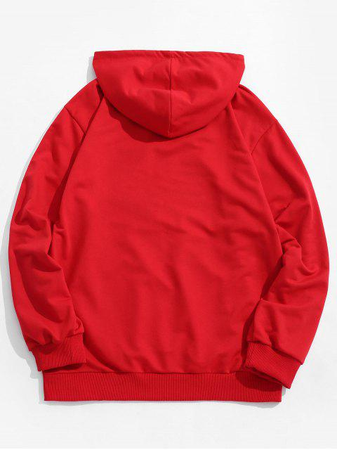 trendy Stripe Letter Patchwork Pocket Hoodie - RED M Mobile