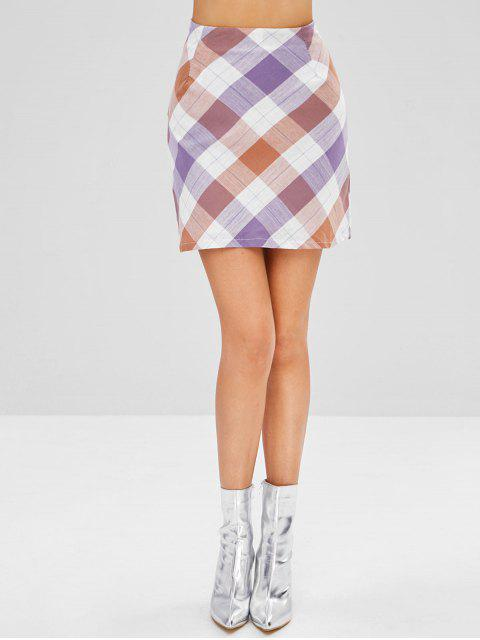 lady Mini A Line Plaid Skirt - MULTI M Mobile