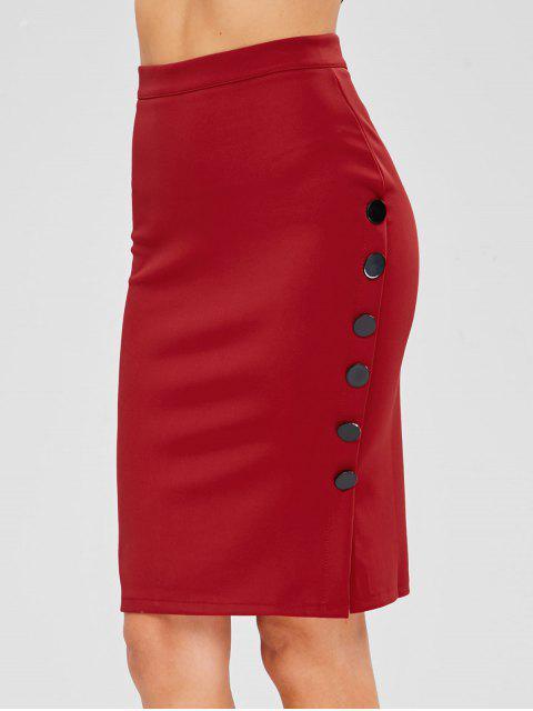 women Back Zipper Side Buttoned Skirt - RED M Mobile