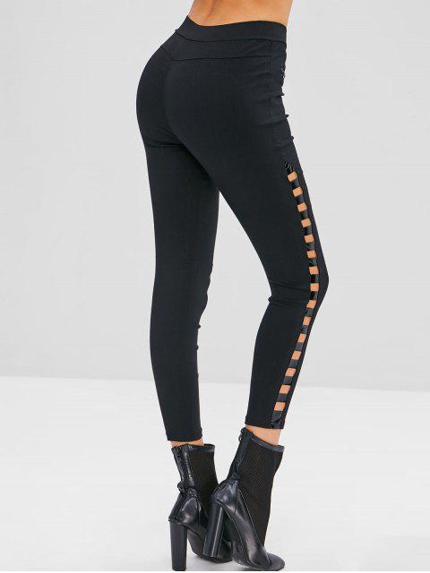 women Ladder Cut Out Skinny Pants - BLACK M Mobile