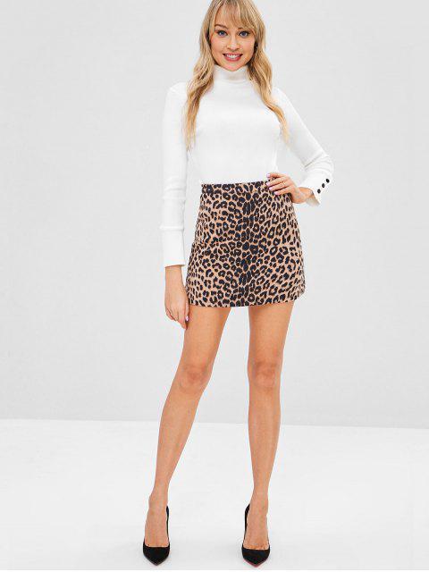 outfit Leopard Suede Skirt - LEOPARD L Mobile