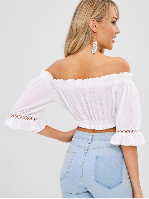 trendy Frilled Crochet Panel Off The Shoulder Top - WHITE ONE SIZE Mobile