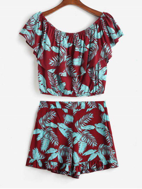trendy Leaves Print Plus Size Top and Shorts Set - RED WINE 2X Mobile